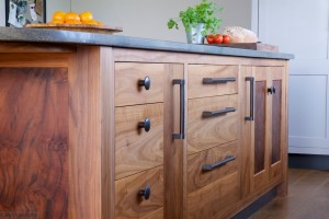 Bespoke Walnut & Burr Oak Kitchen island detail