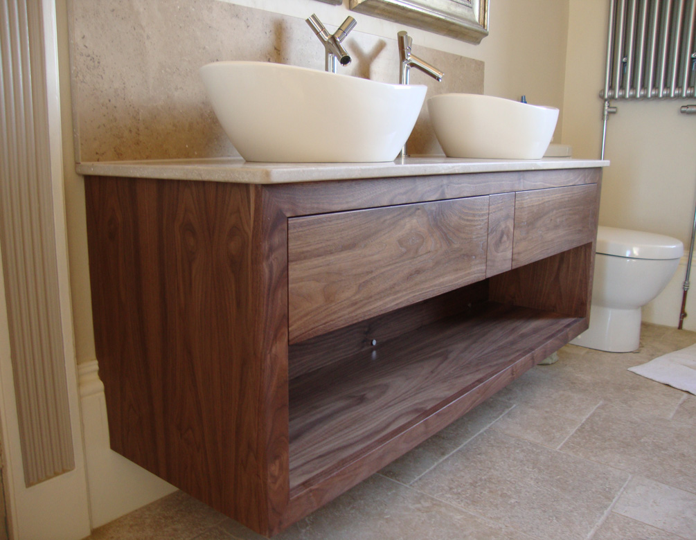American Black Walnut twin sink bathroom unit