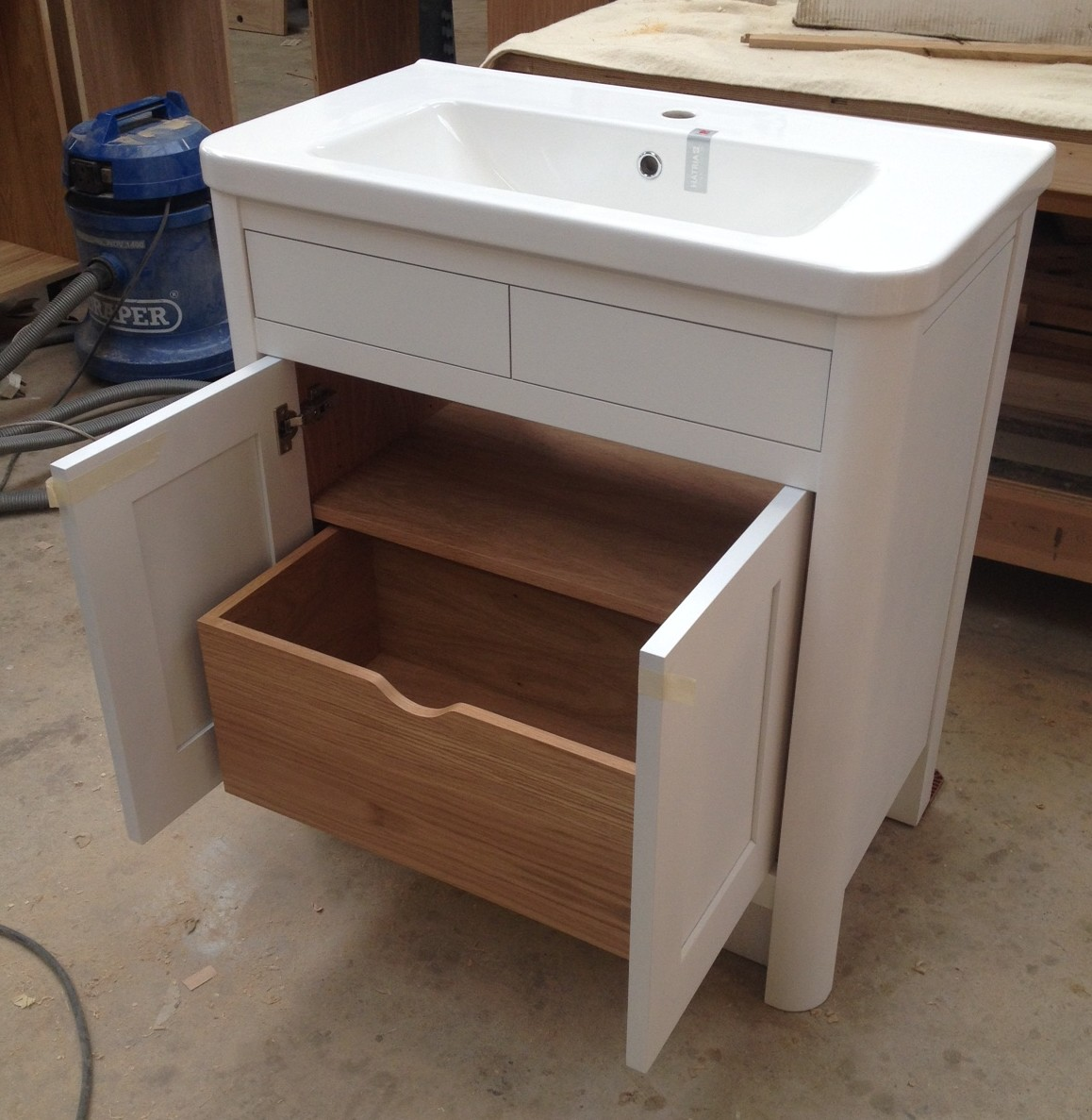 Bespoke Bathroom Vanity units - Oak and painted | DC Furniture